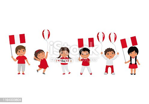 children holding Peru flags. Modern design template for greeting card, ad, promotion, poster, flyer, blog, article, social media Vector illustration