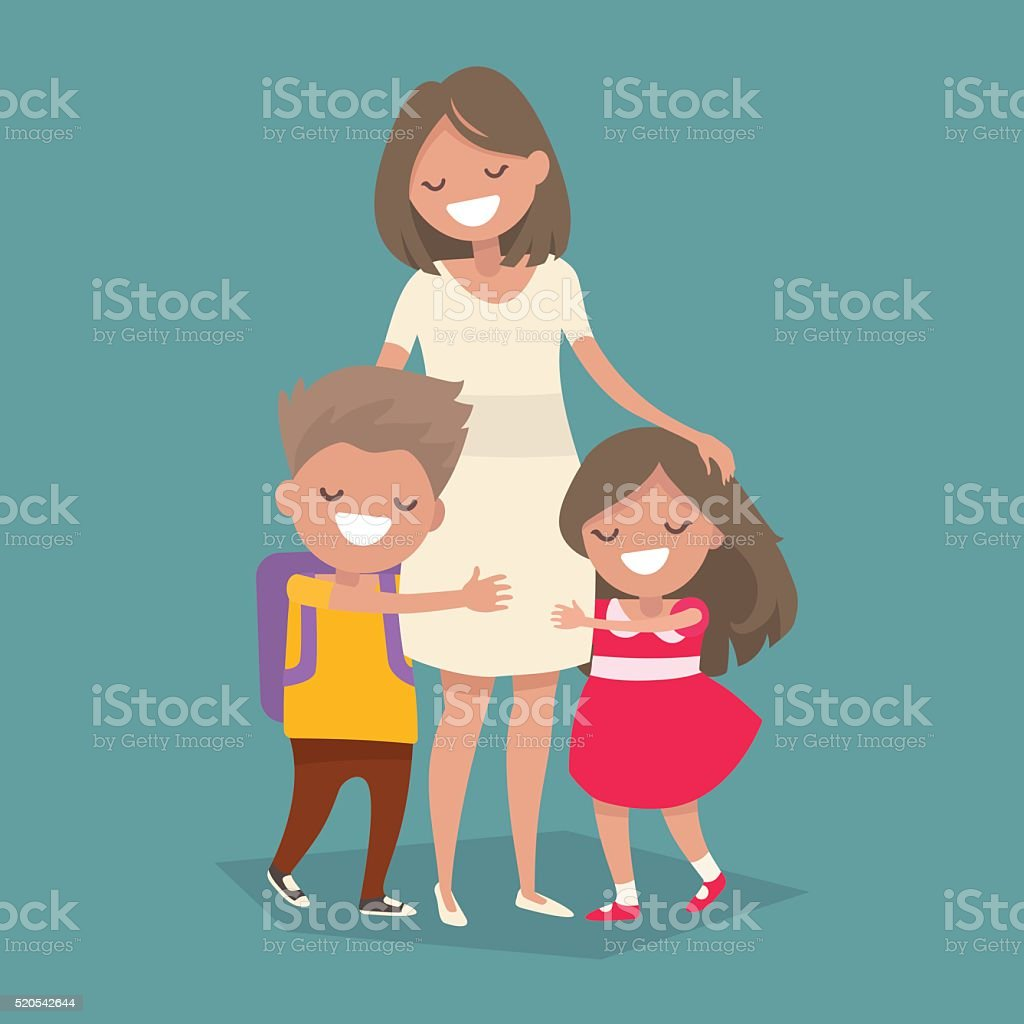 Children hugging her mother. Vector illustration