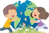 Vector Children hugging the earth