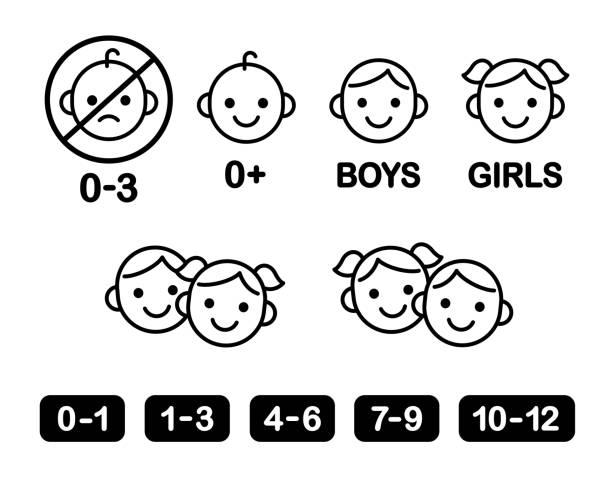 icon-set für kinder - kind stock-grafiken, -clipart, -cartoons und -symbole