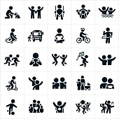 A set of children icons. The icons include children, children playing, boys, girls, families, sons, daughters, boy and a dog, children waving, child swinging, child getting a piggy back ride, children swimming, child jumping rope, child getting on a school bus, child reading, child riding a bike, children running, children jumping, child flying a kite, child riding a push scooter, childhood friends, mother and child, child playing soccer, child dressed up as a superhero, children playing with ball and children dancing to name just a few.