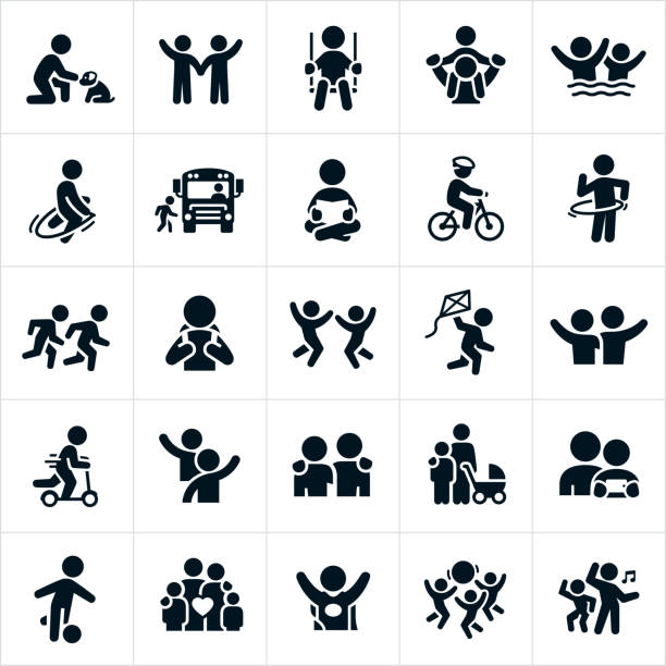 Children Icons A set of children icons. The icons include children, children playing, boys, girls, families, sons, daughters, boy and a dog, children waving, child swinging, child getting a piggy back ride, children swimming, child jumping rope, child getting on a school bus, child reading, child riding a bike, children running, children jumping, child flying a kite, child riding a push scooter, childhood friends, mother and child, child playing soccer, child dressed up as a superhero, children playing with ball and children dancing to name just a few. happy family stock illustrations