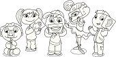 Children illustrating five senses