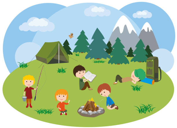 Children in a hike. Boys and girls around the campfire in the meadow. Campfire camping. vector art illustration