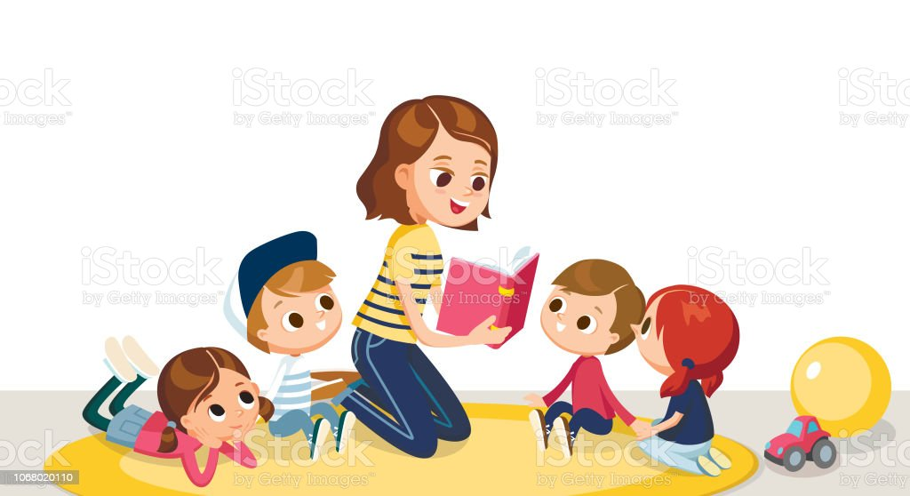 Children in a kinder garden. vector art illustration