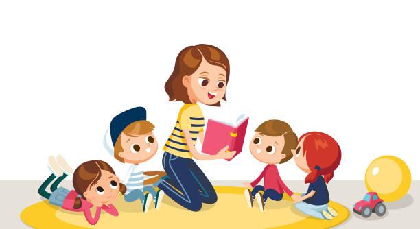 Children in a kinder garden. vector art illustration