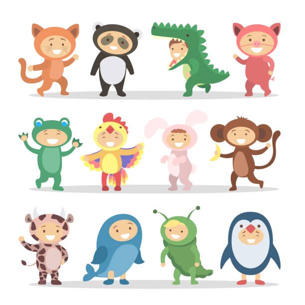 Children in animal costumes set Children in animal costumes set. Funny cartoon cute babies. animal costume stock illustrations