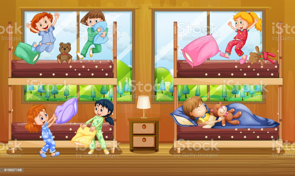 Etagenbetten Für Kinder : Kinder im zimmer mit zwei etagenbetten stock vektor art und mehr