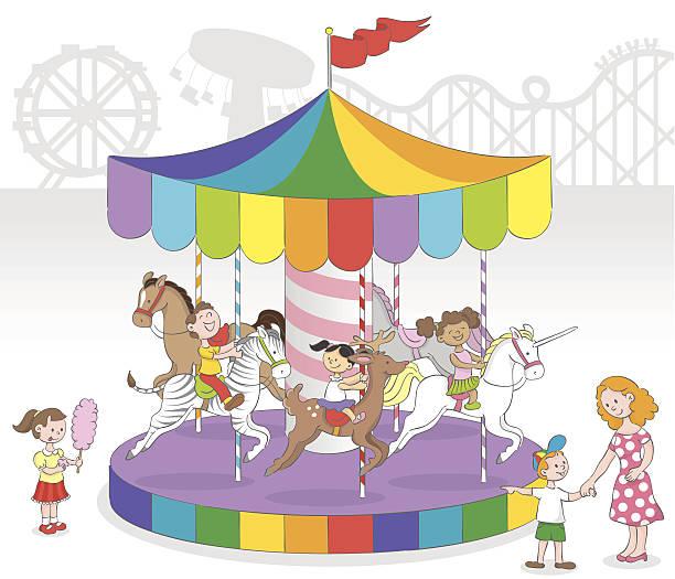 Children in Carousel vector art illustration