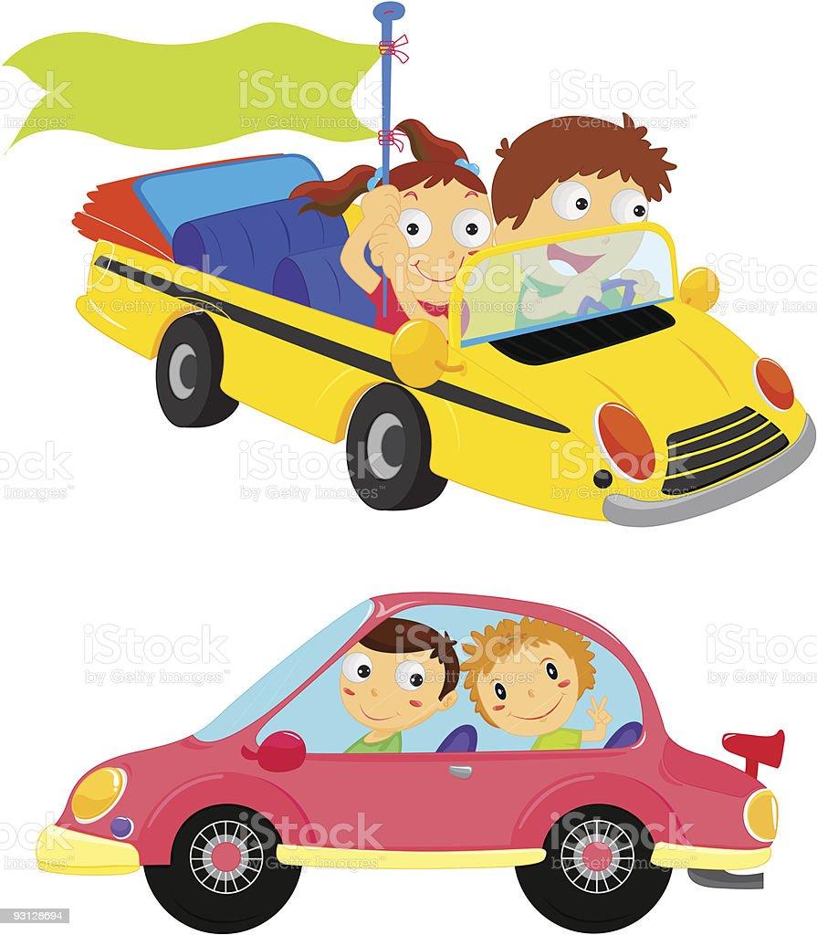 Los niños en los vehículos - ilustración de arte vectorial