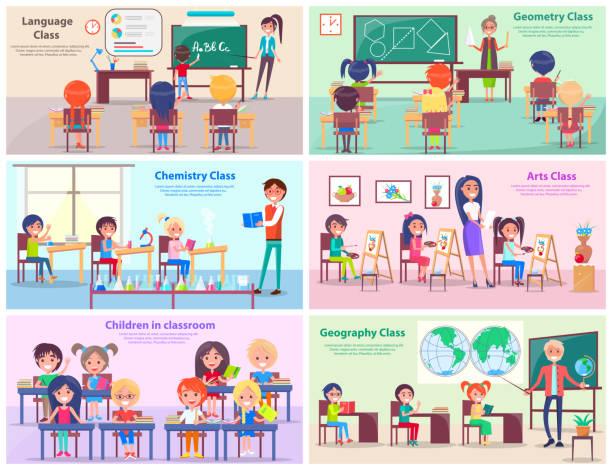 bildbanksillustrationer, clip art samt tecknat material och ikoner med barn i klass rum studie ämnen med lärare - klassrum
