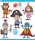Cartoon Illustration of Cute Children in Fancy Ball Costumes Characters Set