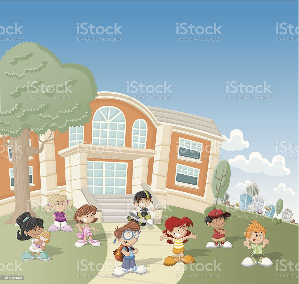 children in front of school royalty-free stock vector art
