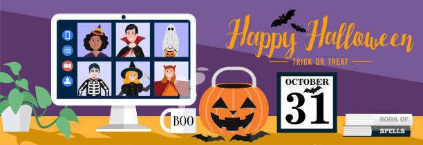 Children in Halloween dress video meetings at home. Vector eps 10 halloween covid stock illustrations