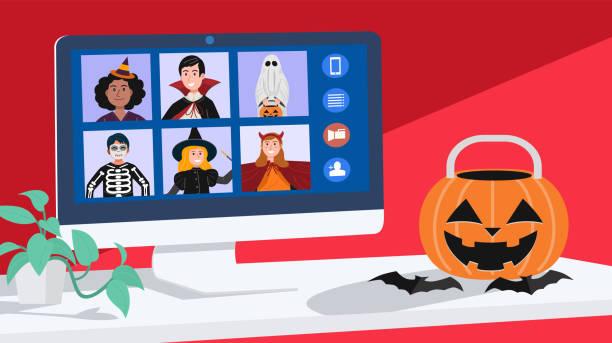 stockillustraties, clipart, cartoons en iconen met kinderen in halloween jurk video vergaderingen thuis. vector - corona scherm