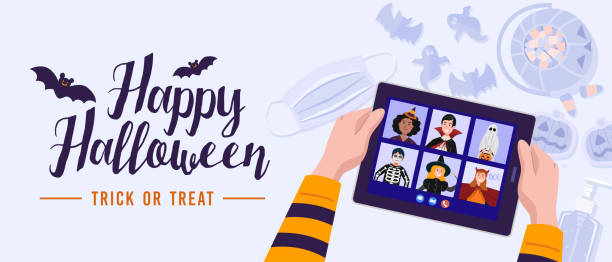 Children in Halloween dress video meetings due to the outbreak of the COVID-19 pandemic. Vector eps 10 halloween covid stock illustrations