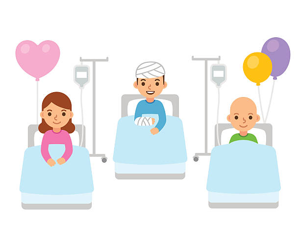 ilustraciones, imágenes clip art, dibujos animados e iconos de stock de children in hospital illustration - cancer patient