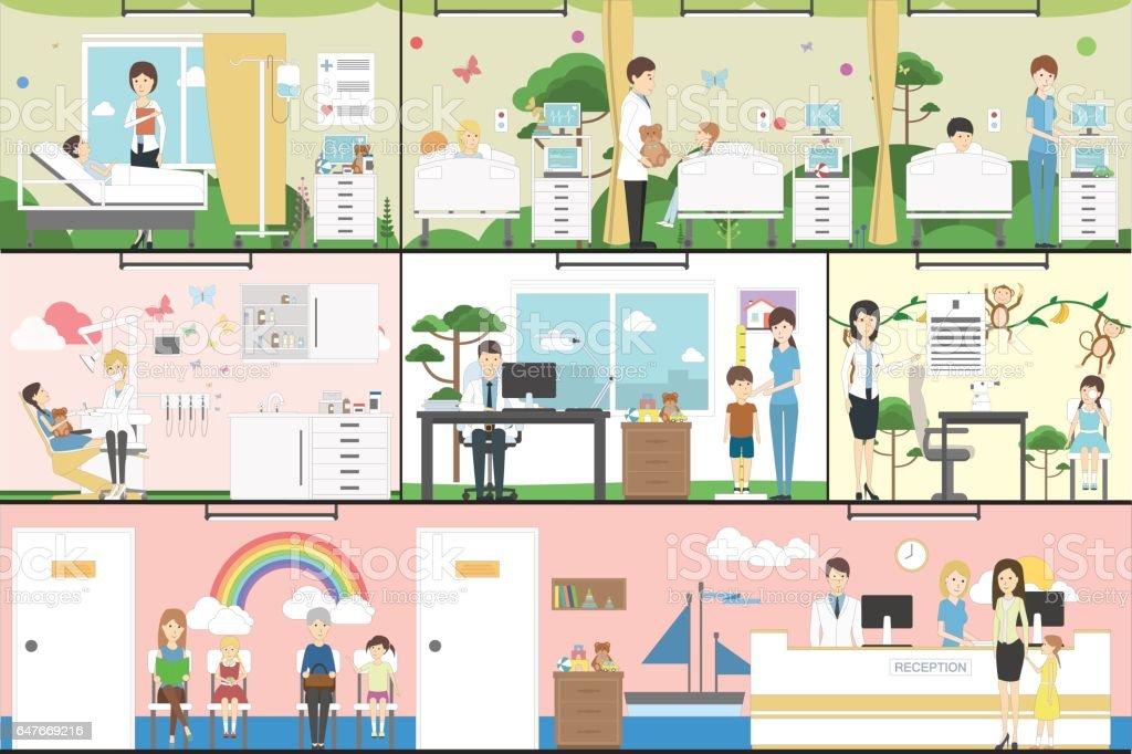 Children in hospital set. vector art illustration