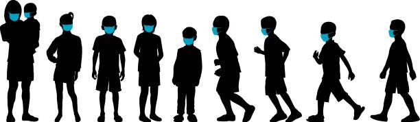 Children in Masks vector art illustration