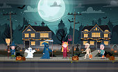 Children in monster costumes on a city street. Trick-or-treating Halloween ritual. Happy Halloween banner. Halloween celebration concept vector illustration