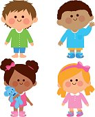 Happy diverse group of girls and boys in their pajamas. Vector illustration