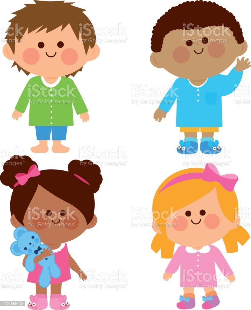 Children in pajamas vector art illustration