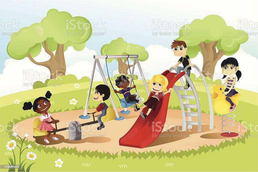 Children in playground vector art illustration