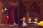 Quest escape room for kids entertainment cartoon vector concept. Little children with map and flash light, searching exit from treasury in dark dungeon, opening door to room with evil vampire inside