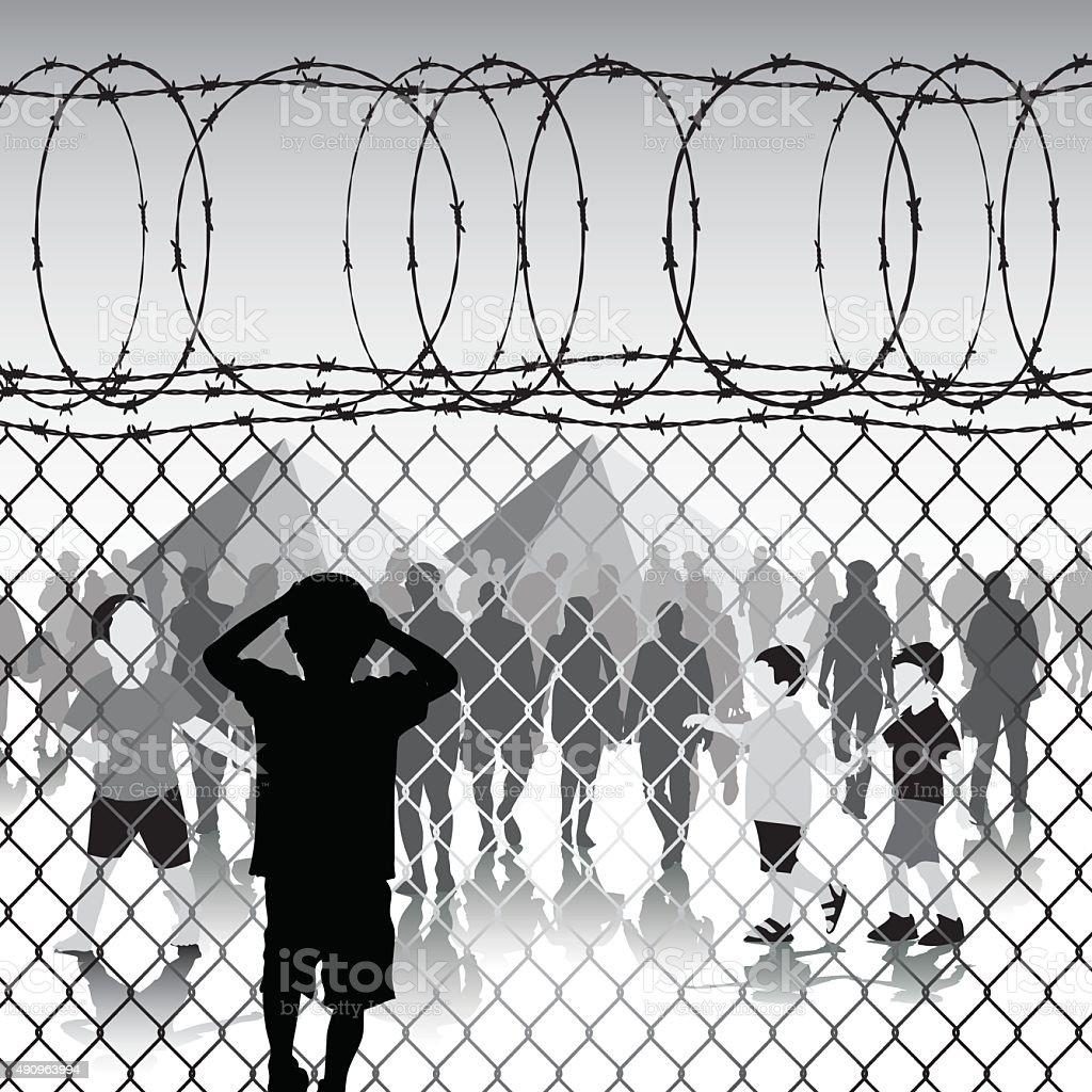 Children in refugee camp vector art illustration