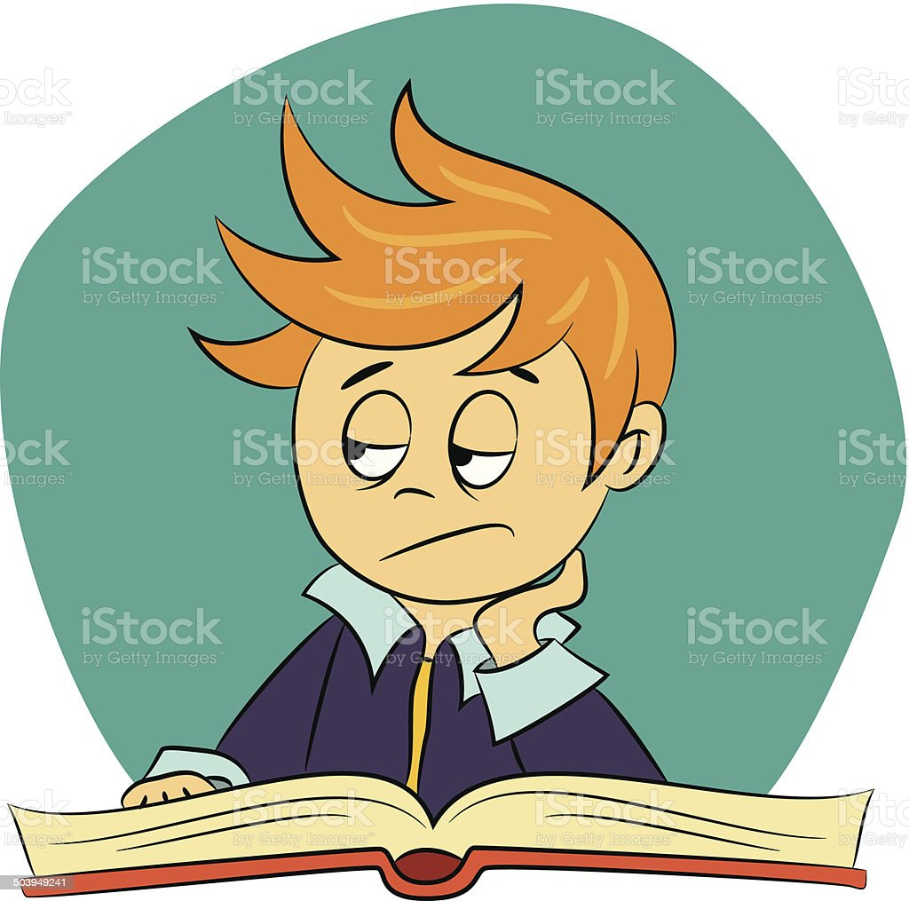 children in school - boy is feeling bored vector art illustration