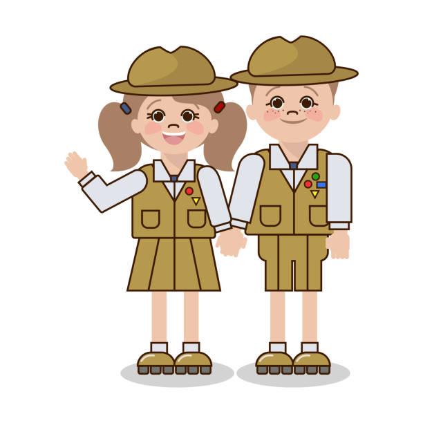 ilustrações, clipart, desenhos animados e ícones de crianças no uniforme do escuteiro. um menino e uma menina, caucasoid. vetor - orientador escolar