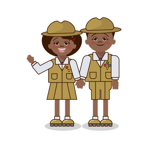 ilustrações, clipart, desenhos animados e ícones de crianças no uniforme do escuteiro. menino e menina do americano africano. vetor - orientador escolar