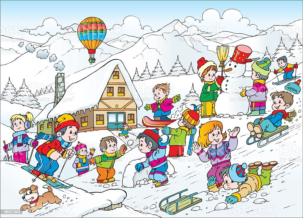Children In Snow Stock Illustration - Download Image Now ...