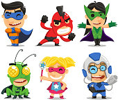 children in superhero costumes