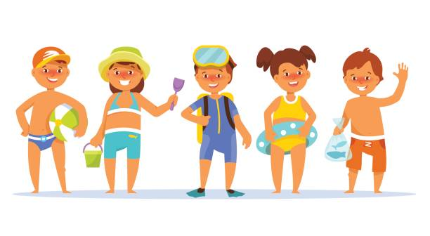 Royalty Free Cute Baby Bathing Suits Clip Art, Vector ...