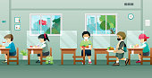 Children in the cafeteria with social distancing protection Kovit-19.