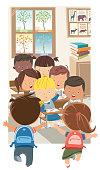 Vector Children in the classroom