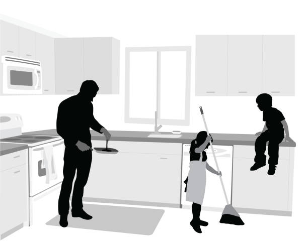 Children In The Kitchen Dad cooking while his daughter sweeps the floor cooking silhouettes stock illustrations