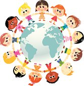EPS and JPG, vector. Children in unity around the world