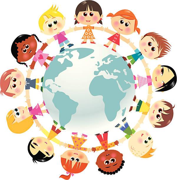 Kinder in der Einheit auf der ganzen Welt – Vektorgrafik