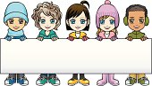 Vector Illustration - Children in winter clothes holding a banner
