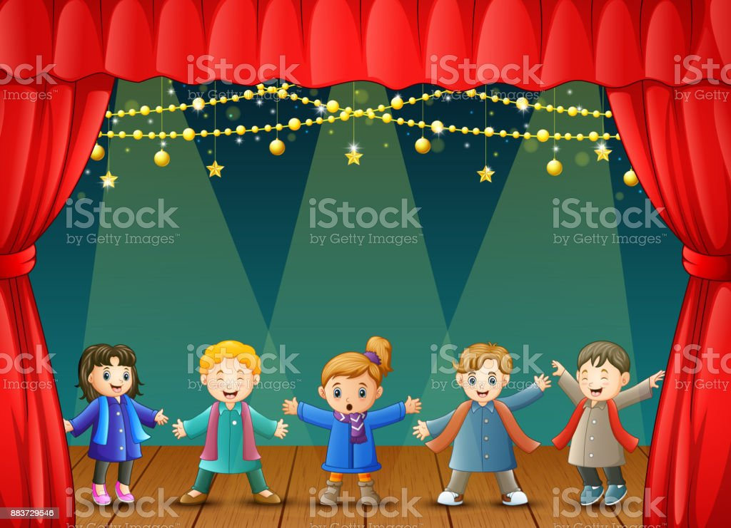 Children in winter clothes performing on stage vector art illustration