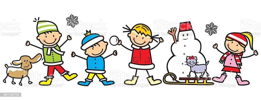 Children In Winter Stock Vector Art & More Images of ...