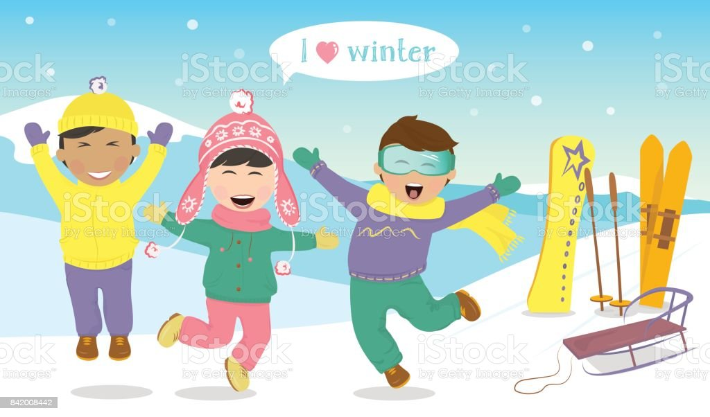 Children jumping and laughing on the hillside. vector art illustration