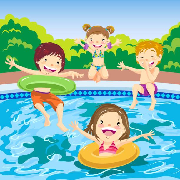 ilustrações de stock, clip art, desenhos animados e ícones de children jumping in the pool - jump pool, swimmer