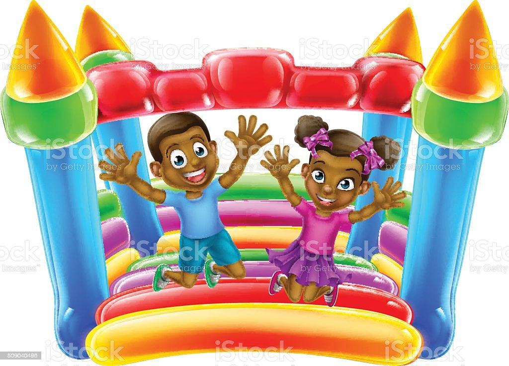 Children Jumping on Bouncy Castle vector art illustration