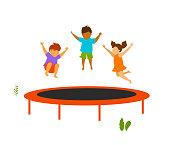 children jumping on outdoor trampoline vector illustration
