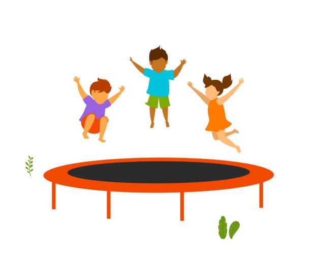 children jumping on outdoor trampoline vector illustration - jumping stock illustrations