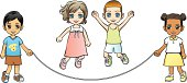 Children jumping rope without background
