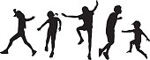 Vector silhouettes of five children jumping.